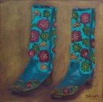 Shoe Art 11 – Floral Cowboy boots
